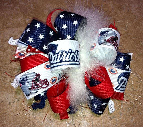 New England Patriots Star NFL Football Boutique Hairbow With or Without Feather