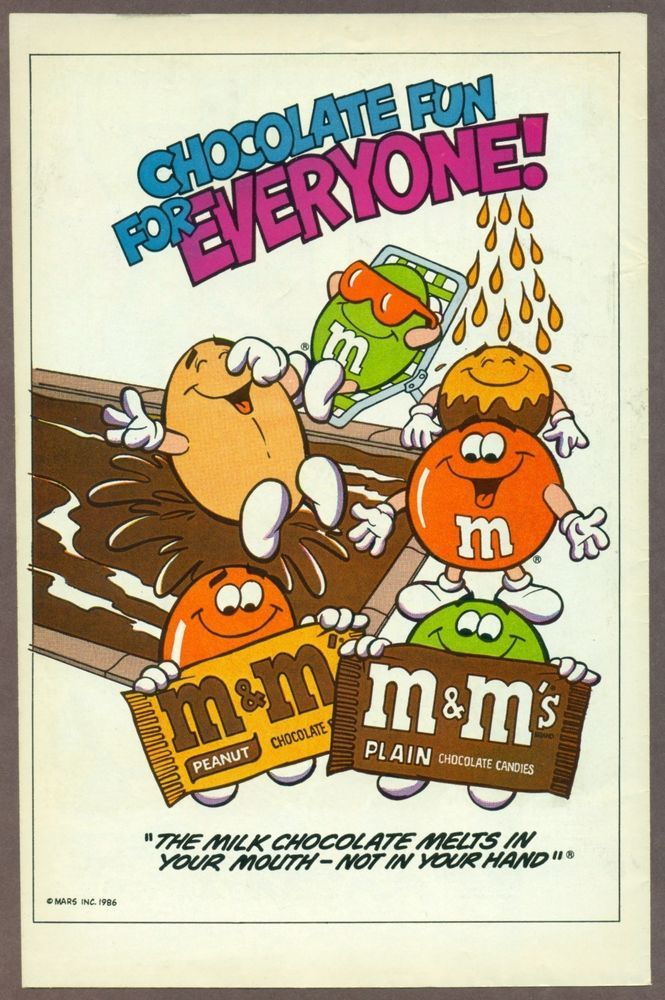 M&M's 1986 print ad, M&Ms guys in pool, comic advertisement #MMs
