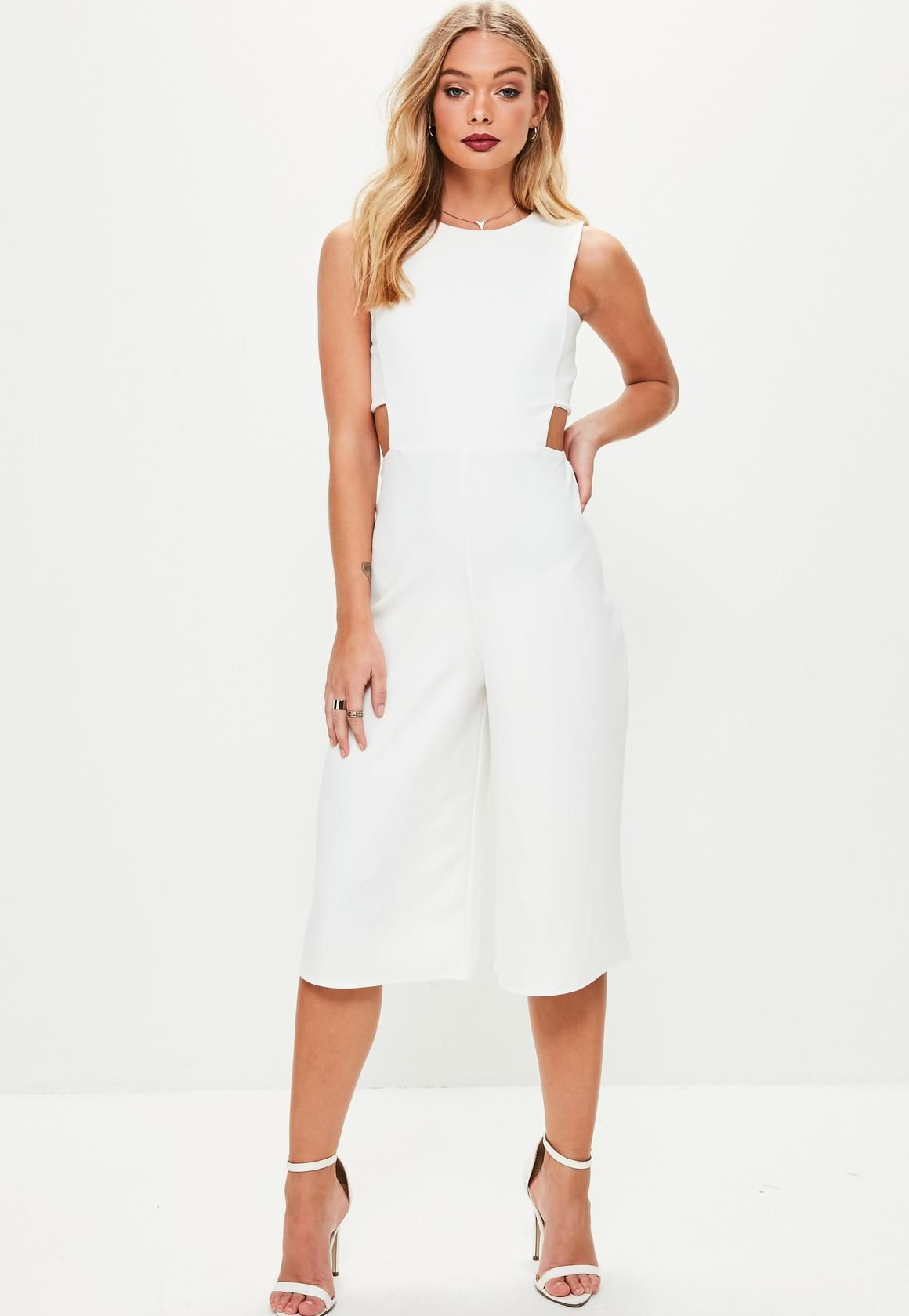 48339e1ae29e Missguided - White Tab Side Culotte Jumpsuit | White dress ...
