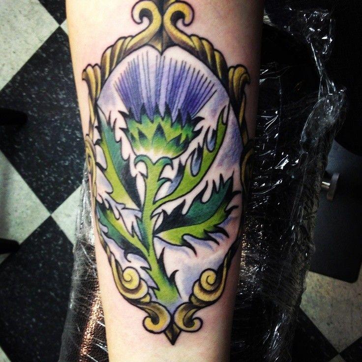 Scottish Thistle Tattoo Ideas: Purple Thistle In Mirror Scotland Tattoo