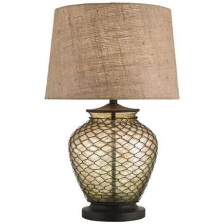 Currey And Company Wire Mesh And Glass Table Lamp X6459 Lamps Plus Rustic Table Lamps Glass Table Lamp Table Lamp