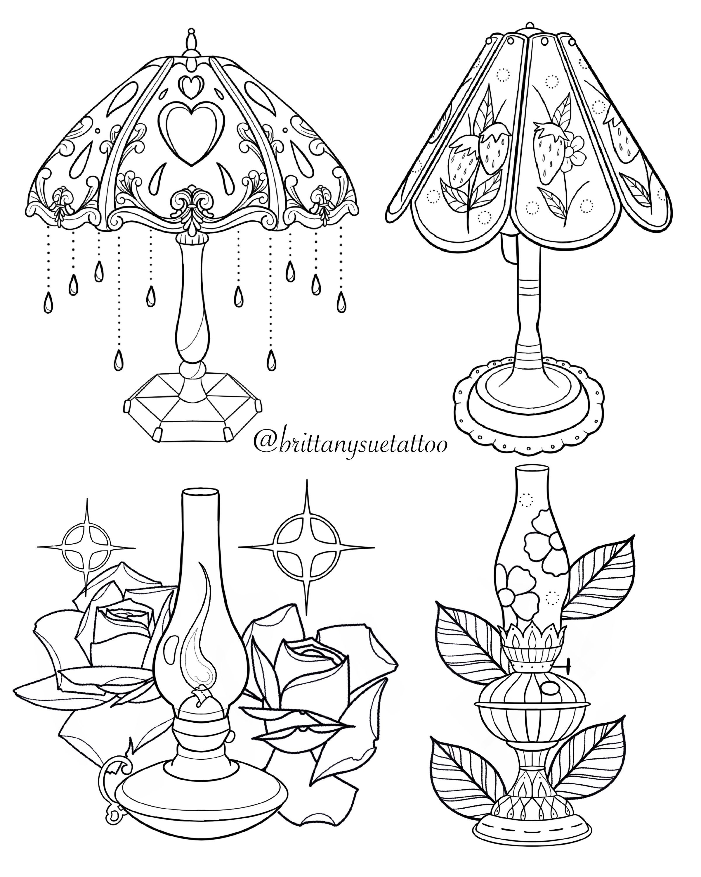 Lamp Tattoo Designs By Brittany Siler Brittanysuetattoo In 2020 Modern Lamp Lamp Tattoo Vintage Lamps