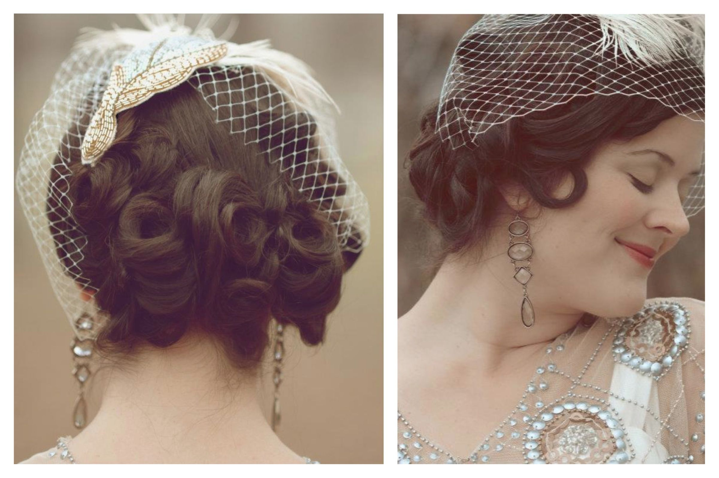 pin curl, vintage, side-swept up-do, with bead and feather birdcage