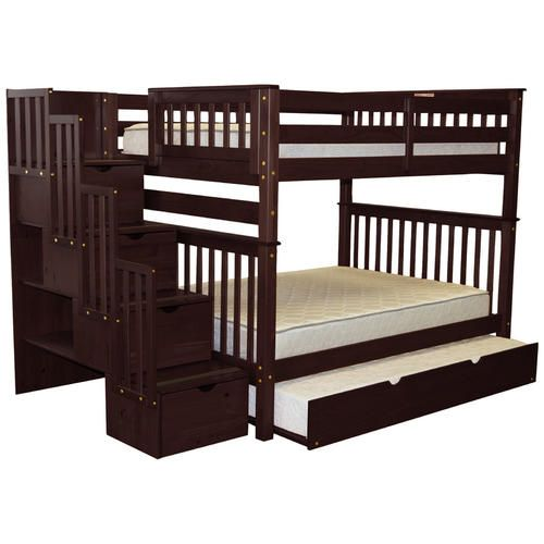 Best Bedz King Full Over Full Stairway Trundle Bunk Bed With 640 x 480