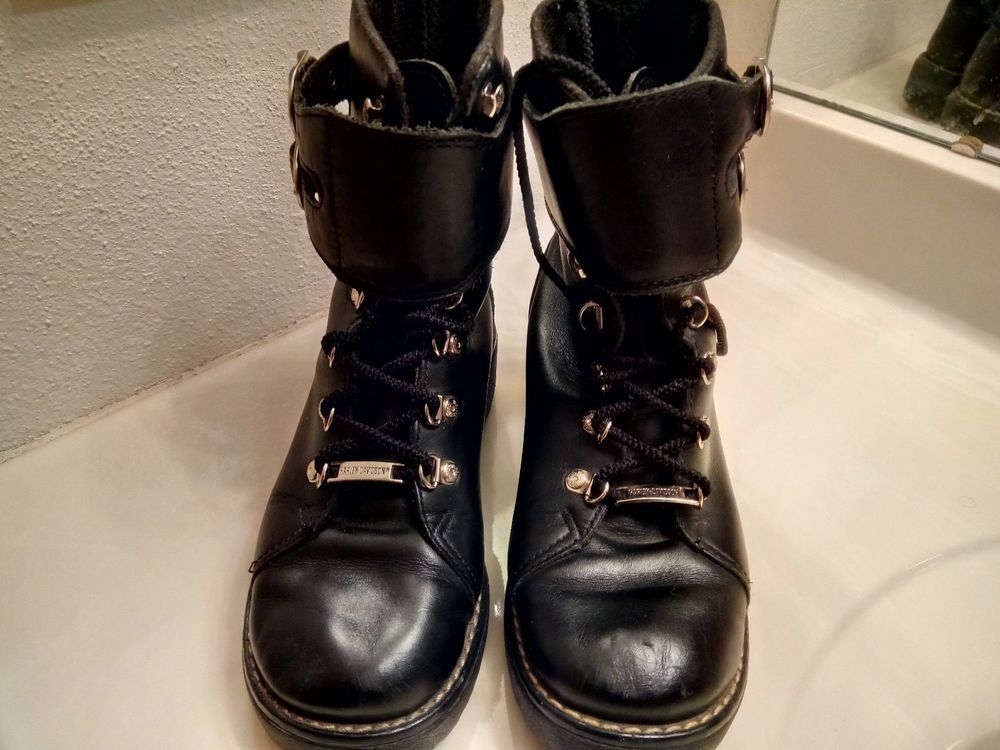 59dd044f288 Harley Davidson 81110 Leather 2Buckle Ankle Strap Motorcycle Boot ...