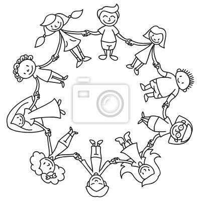 Vinilo para Paredes círculo infantil para colorear - stickman ...