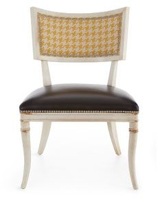 """""""Calvin"""" chair  yellow houndstooth and black leather on an aged ivory frame - beautiful!"""