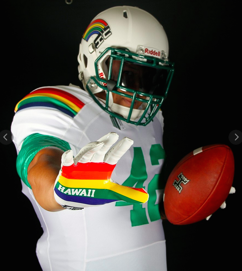 Photo Hawaii Bringing Back The Rainbow Uniforms For Ohio State Game Ohio State Game College Football Helmets Football Uniforms