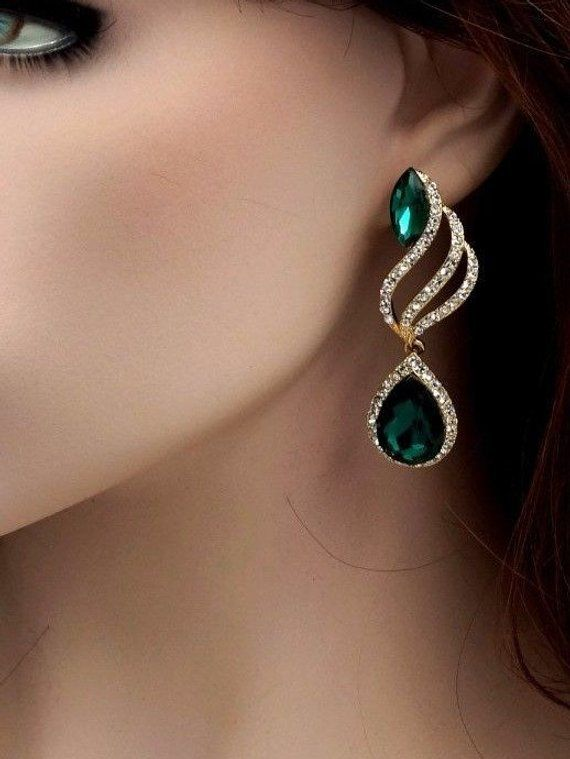 928591a8a7 Free shipping 18K Gold Plated GP Green Crystal Rhinestone, Prom ...