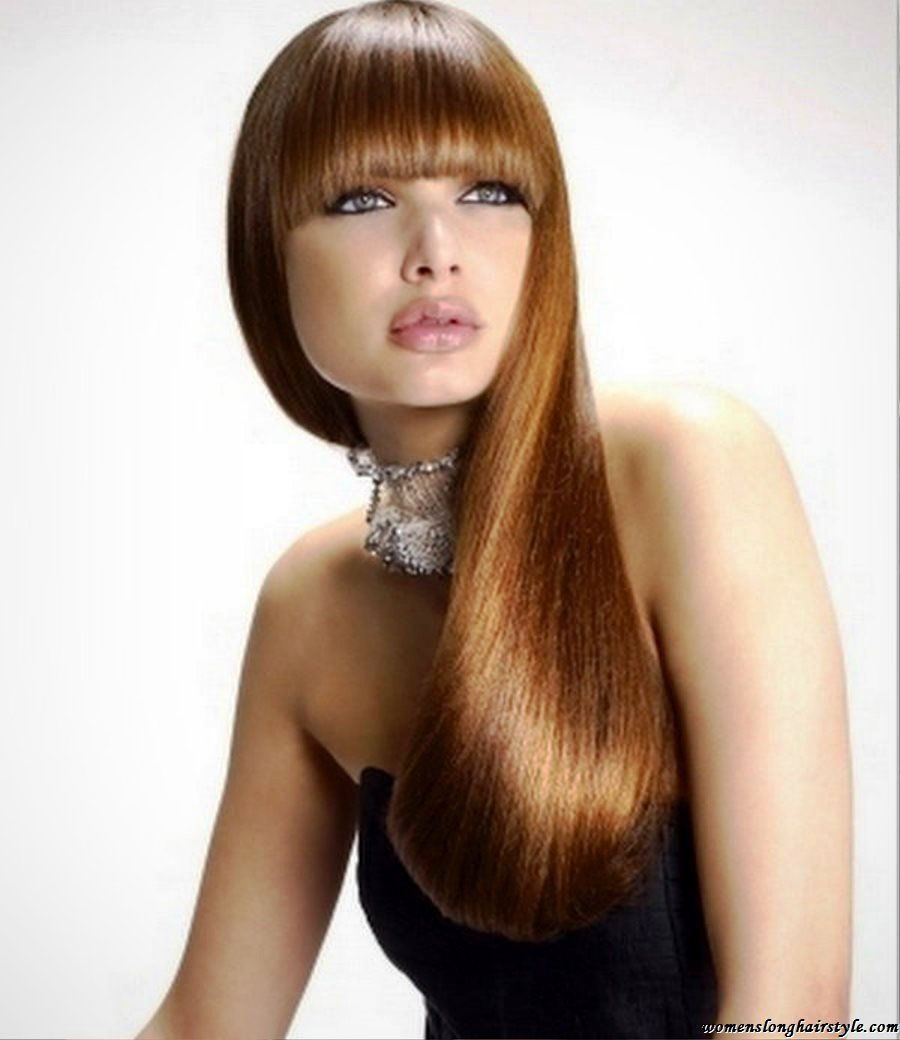 Trendy Hairstyles for Long Straight Hair with Bangs | Party hairstyles for long hair, Thick hair ...