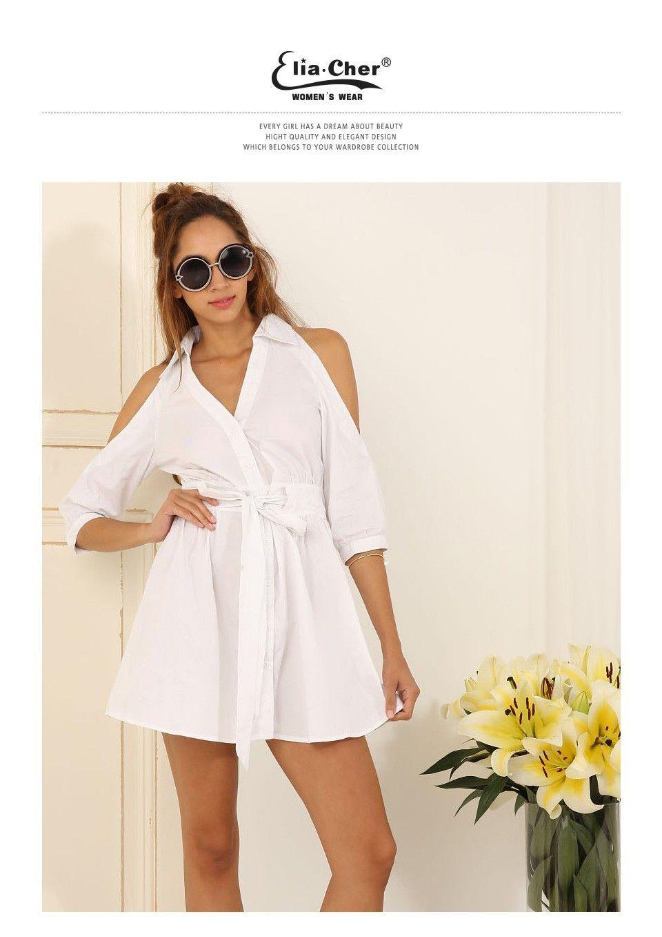 Aliexpress.com  Acheter Robe d été 2016 Femmes Chemise Blanche Robe Elia  cher Marque Plus La Taille de Causalité Femmes Vêtements Chic Femmes  Élégantes ... bfacd5ab1f0
