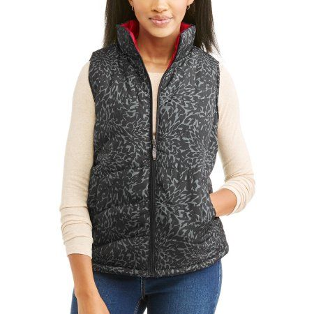 Womens Lightweight Printed Puffer Vest Size Small Black