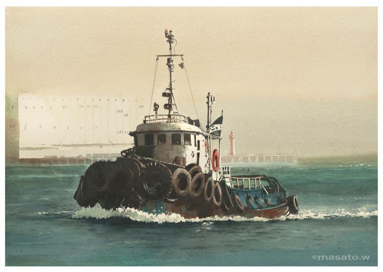 Artist Masato Watanabe  [Tag boat] Watercolor  Arches Watercolor Paper Hot Pressed タグボート 水彩 アルシュ極細目 26×36cm  2013年6月