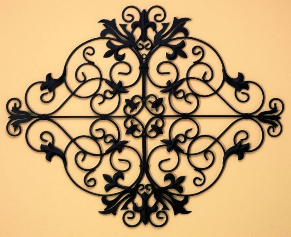Tuscan Metal Wall Art oversized tuscan iron metal fleur-de-lis wall grille plaque | iron