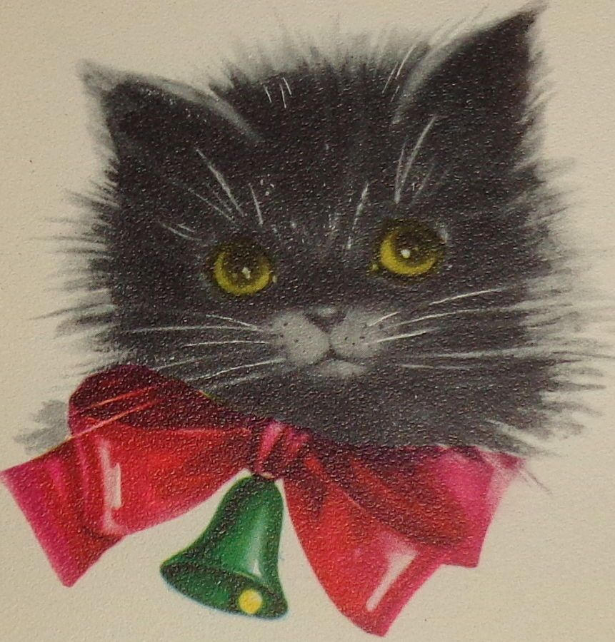 Vintage 1952 Christmas card, adorable black cat with bow, Gibson 5 1 ...