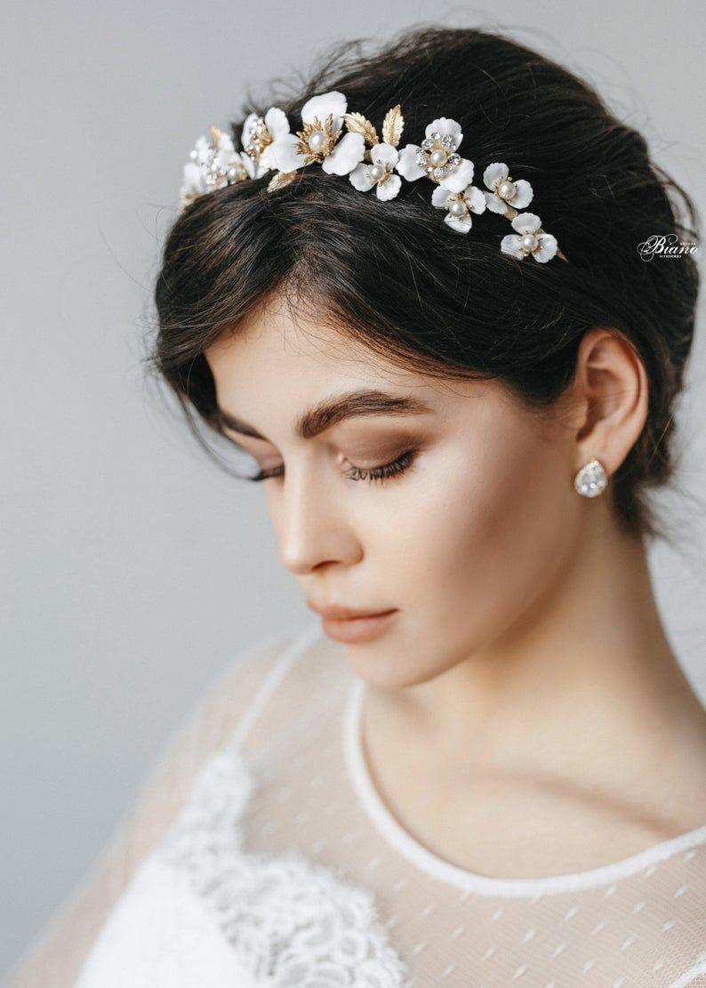 Bridal Floral Crown Wedding Flower Tiara Bohemian Headpiece Etsy In 2020 Floral Crown Wedding Bridal Floral Crown Floral Headband Wedding