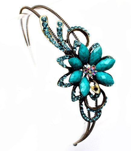 Turquoise stone flower hairband alice band hair accessories turquoise stone flower hairband alice band hair accessories ebay junglespirit Choice Image