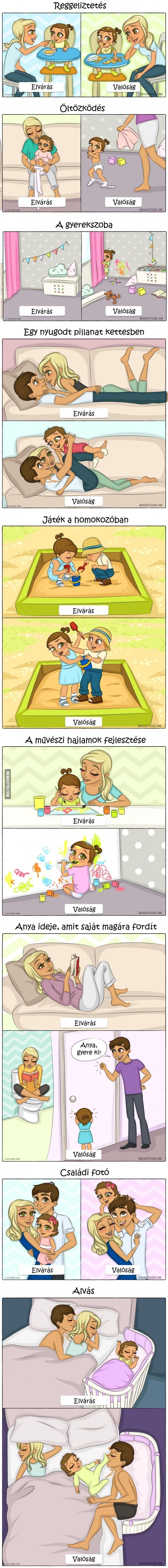 Gyereknevelés: Elvárás vs. valóság - 9 tündéri illusztrációban