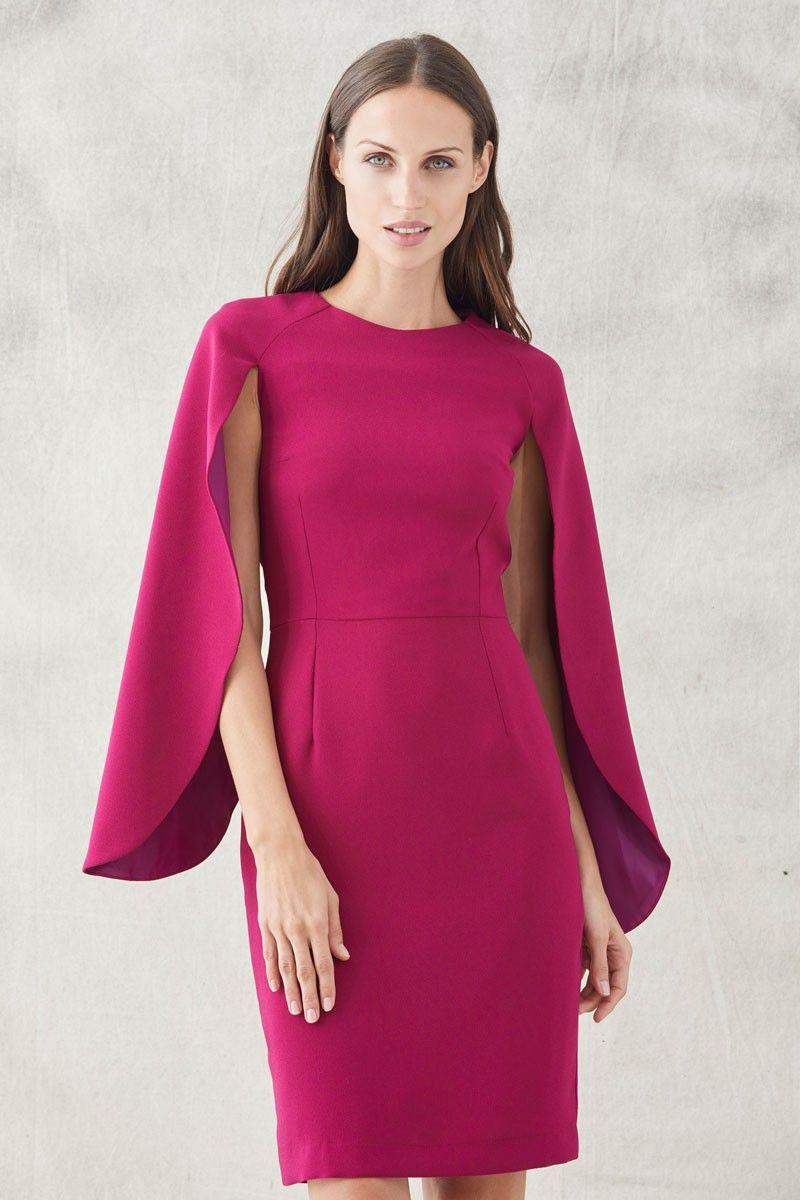 6560a7595 Vestido corto frambuesa con mangas capa para eventos invitadas de bodas  ocasiones bautizo cócktail apparentia