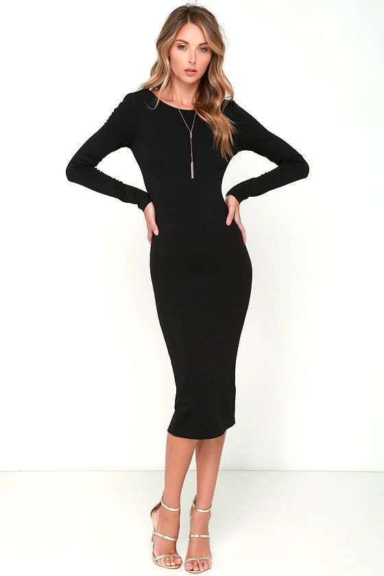 6897a342ee8 You ll be catching kisses left and right when you strut your stuff in the Va  Va Voom Black Backless Midi Dress! Curve-loving stretch knit hugs your ...