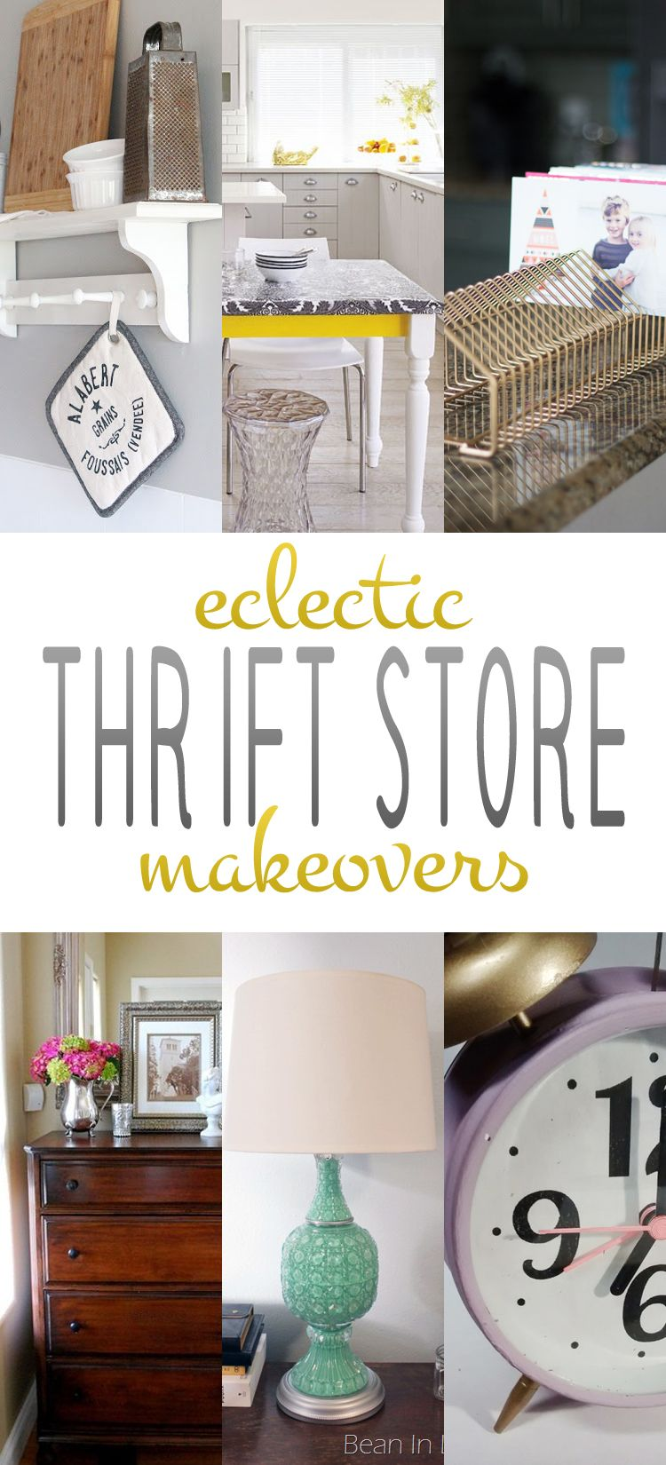 eclectic thrift store makeovers diy home decor pinterest diy idee deco et decoration. Black Bedroom Furniture Sets. Home Design Ideas