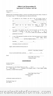 Free Affidavit Of Memorandum For Purchase And Sale Printable Real
