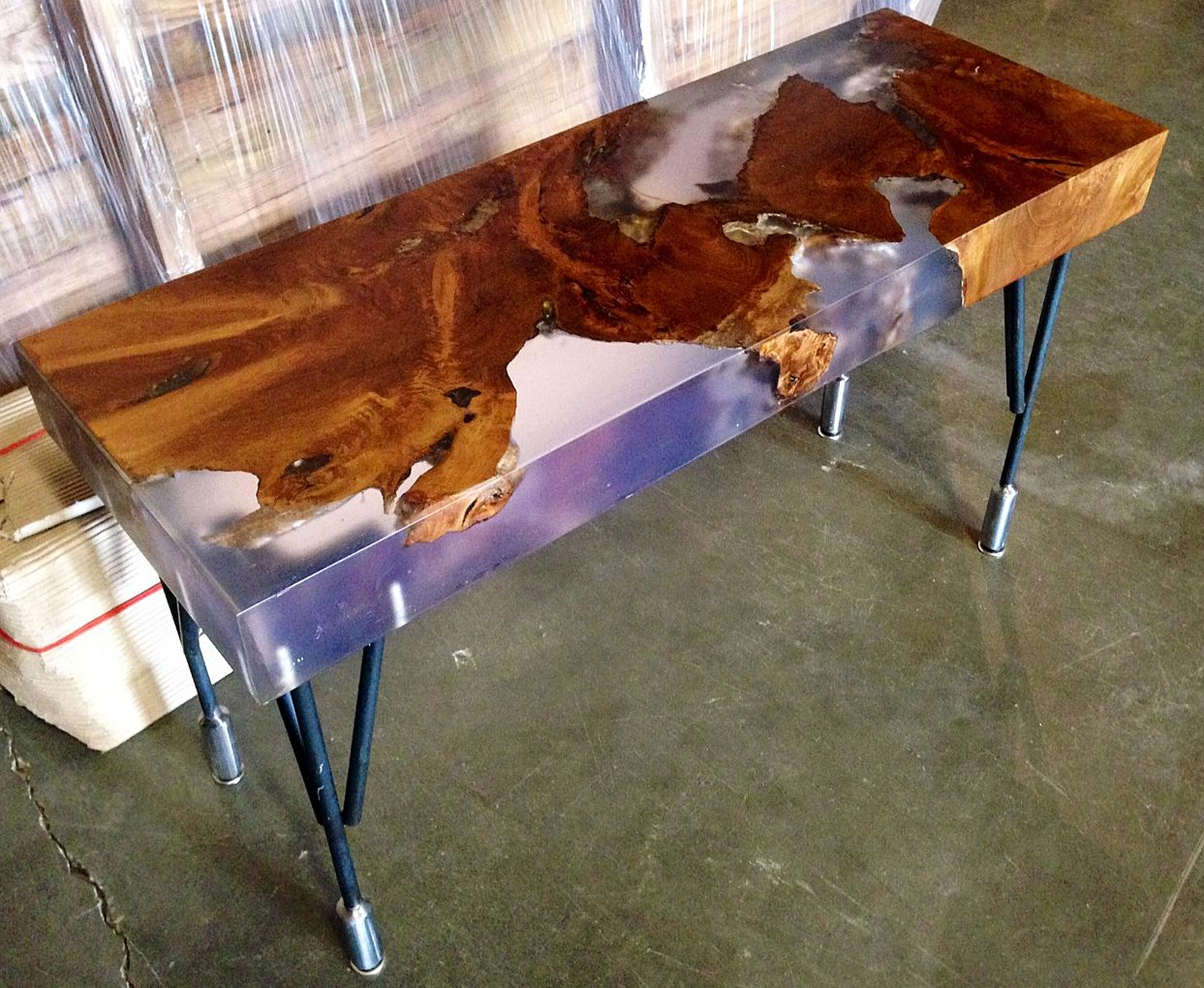 Natural edge dining table w steel hairpin legs from impact imports of - 36 Best Custom By Impact Imports Images On Pinterest Wood Slab River Rocks And Teak