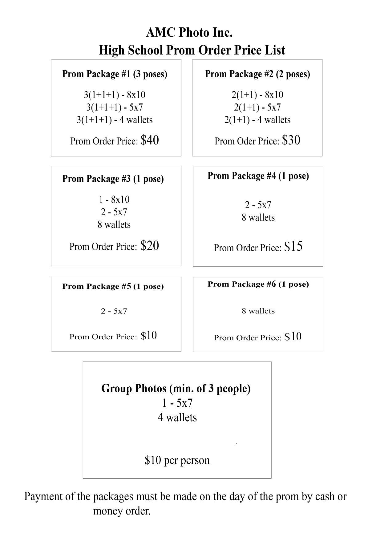 Prom Pricing Photography Order Form Prom Photography Photo Packages