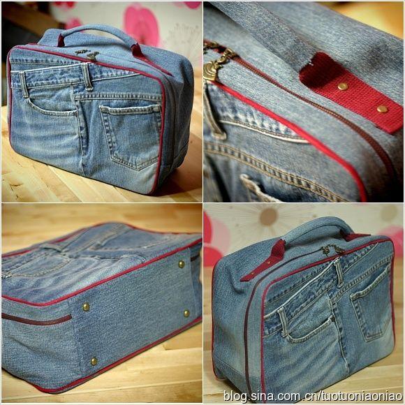 Resultado de imagem para como fazer bolsa de viagem em jeans