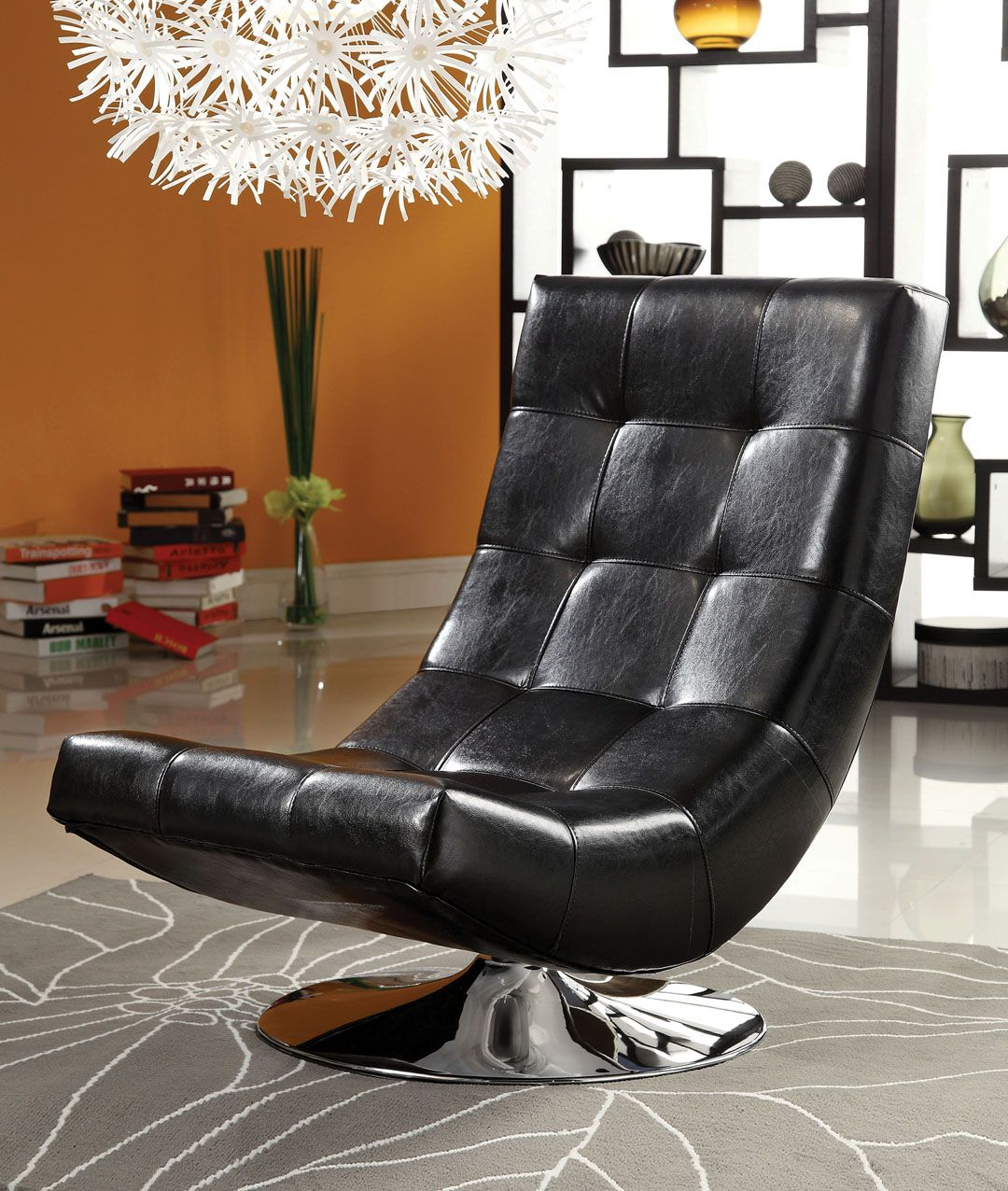 Trinidad contemporary style black leather like vinyl hammock style tufted swivel scoop chair with chrome base living room