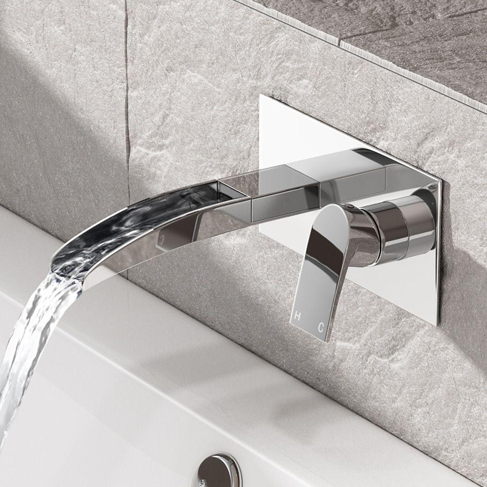 Avis Ii Wall Mounted Waterfall Bath Filler Mixer Tap Bath Shower