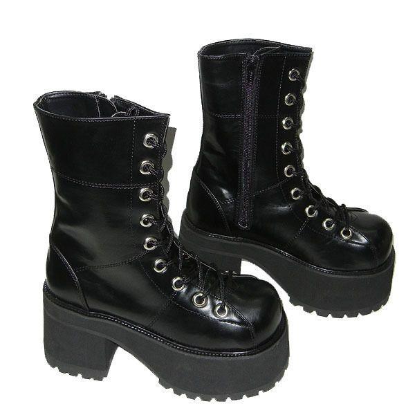 00b89c721060 Demonia Ranger 301 Vegan PU Black Platform Womens Boots Gothic Industrial  Punk