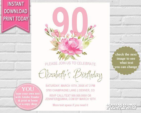 Birthday Invitation 90th Watercolor Flowers