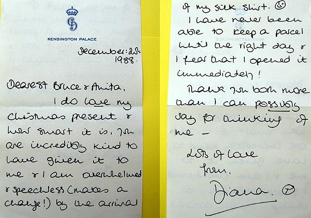 Princess DianaS Thank You Letter To Friends  Letters
