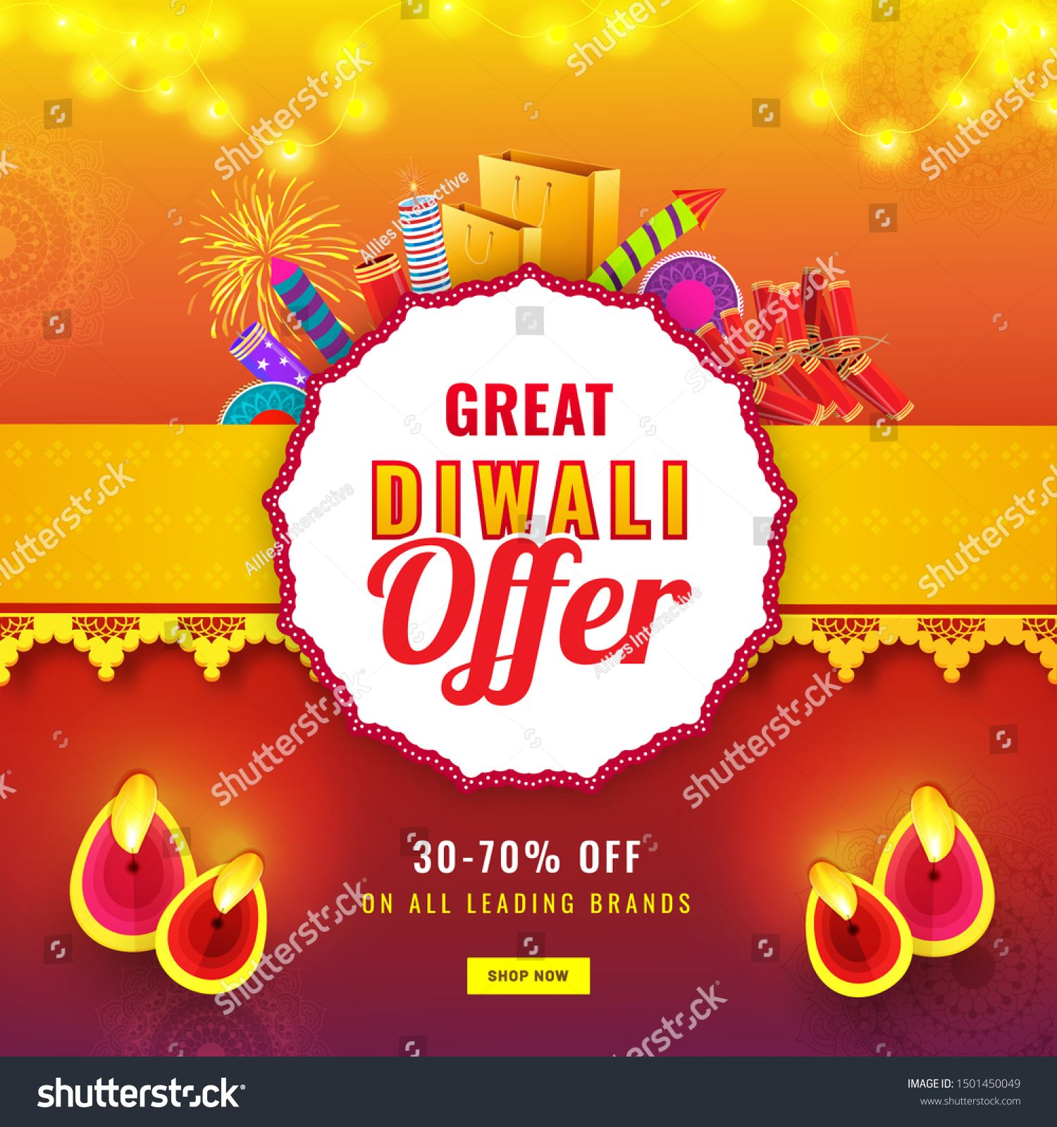 Diwali Sale poster or template design with 3070 discount offer firecrackers and illuminated oil lamp Diya on abstract background decorated with lighting garland
