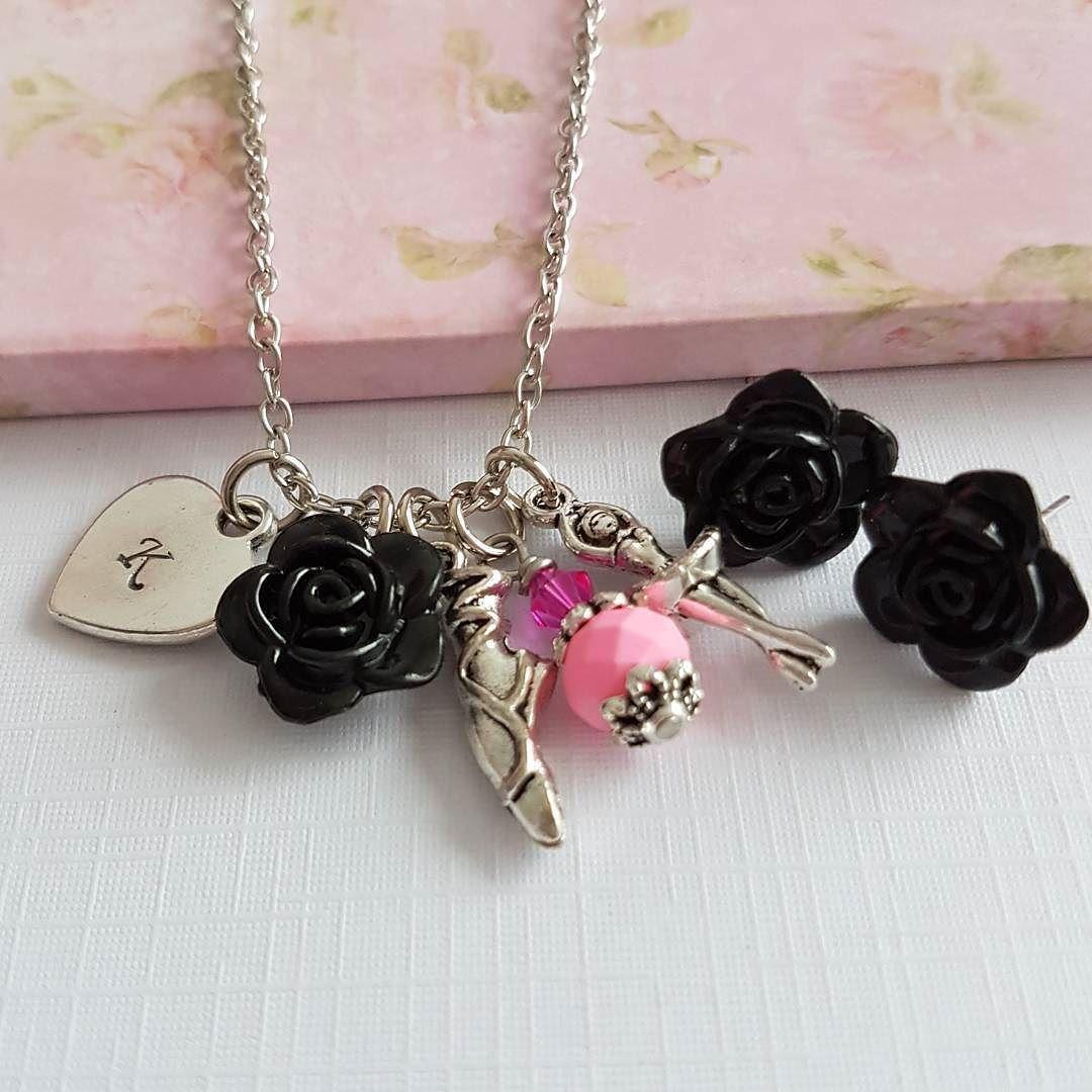 Black with pink ballet jewelry set handmade jewelry pink ballet