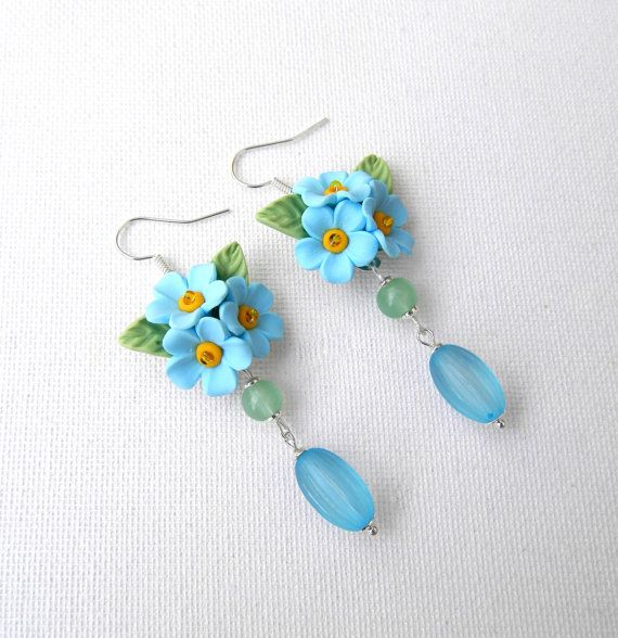 Forget me not  Light blue earrings  Summer by insoujewelry on Etsy, $31.00