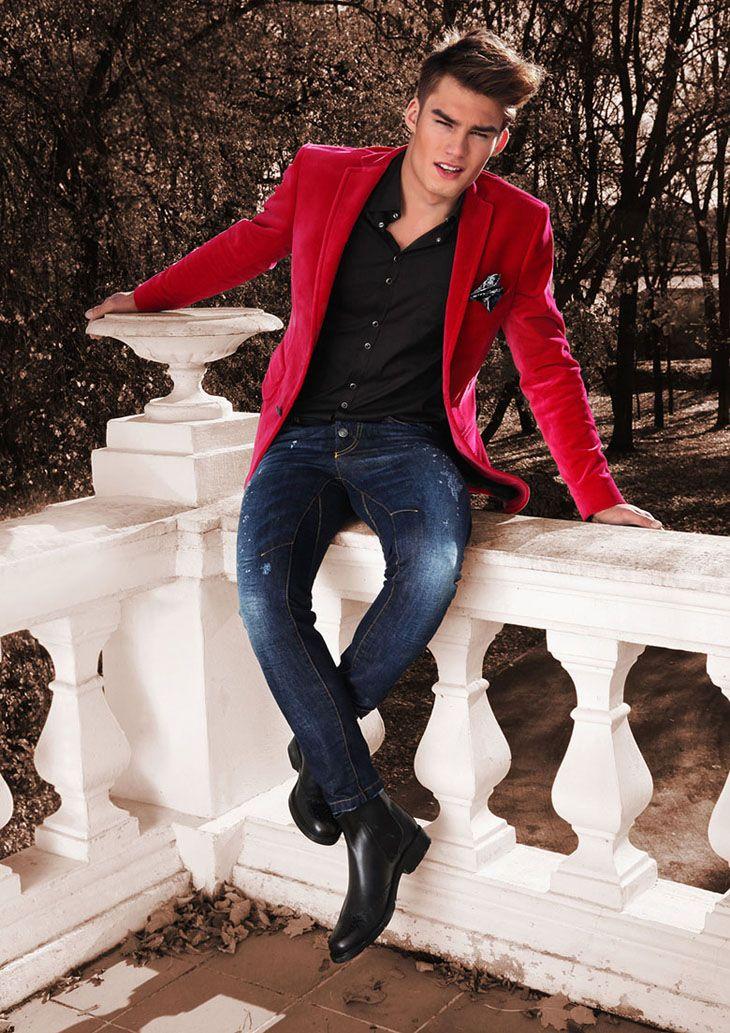 Adrian Suchecki by Agata Mayer | Blazer outfits men, Red