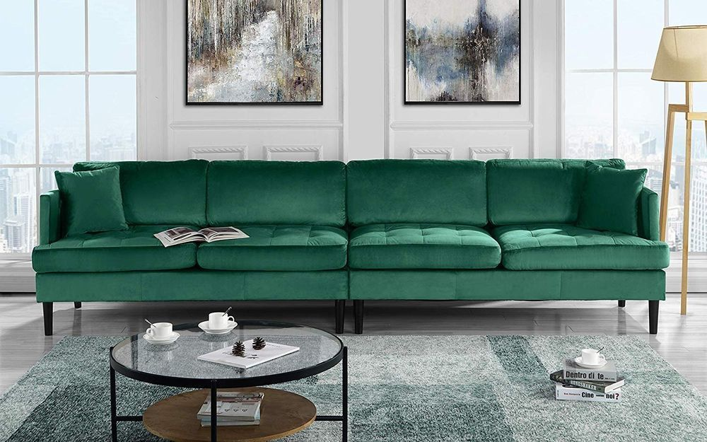 Details about Mid Century Modern Extra Large Velvet Sofa, Living Room Couch, 4 Seater (Green) images