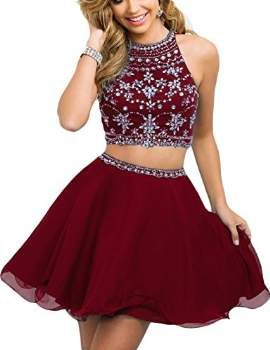 7c2ae3134e17 Fanciest Women's Beaded Two Pieces Prom Dresses Short Cocktail Homecoming  Dress Burgundy US8
