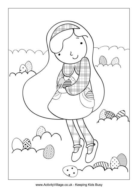 Heres A Pretty Easter Egg Hunt Colouring Page Can Your Child Count The Eggs While He Or She Colours Them In