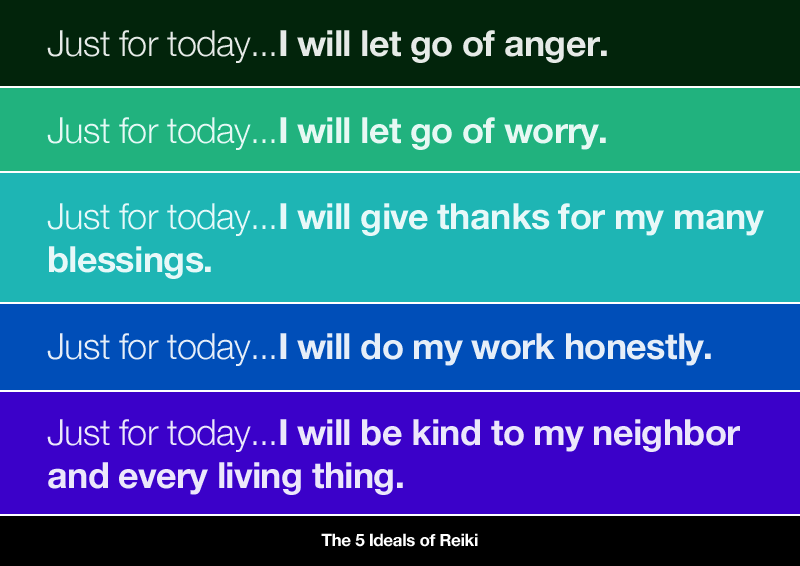 The 5 Ideals of Reiki. More powerful than the ideals put forth in these 5 lines is the idea of taking development one day at a time. I think anyone can commit to doing something for just today. This is an excellent practice for remaining present and tackling long-term goals. ~highexistence.com
