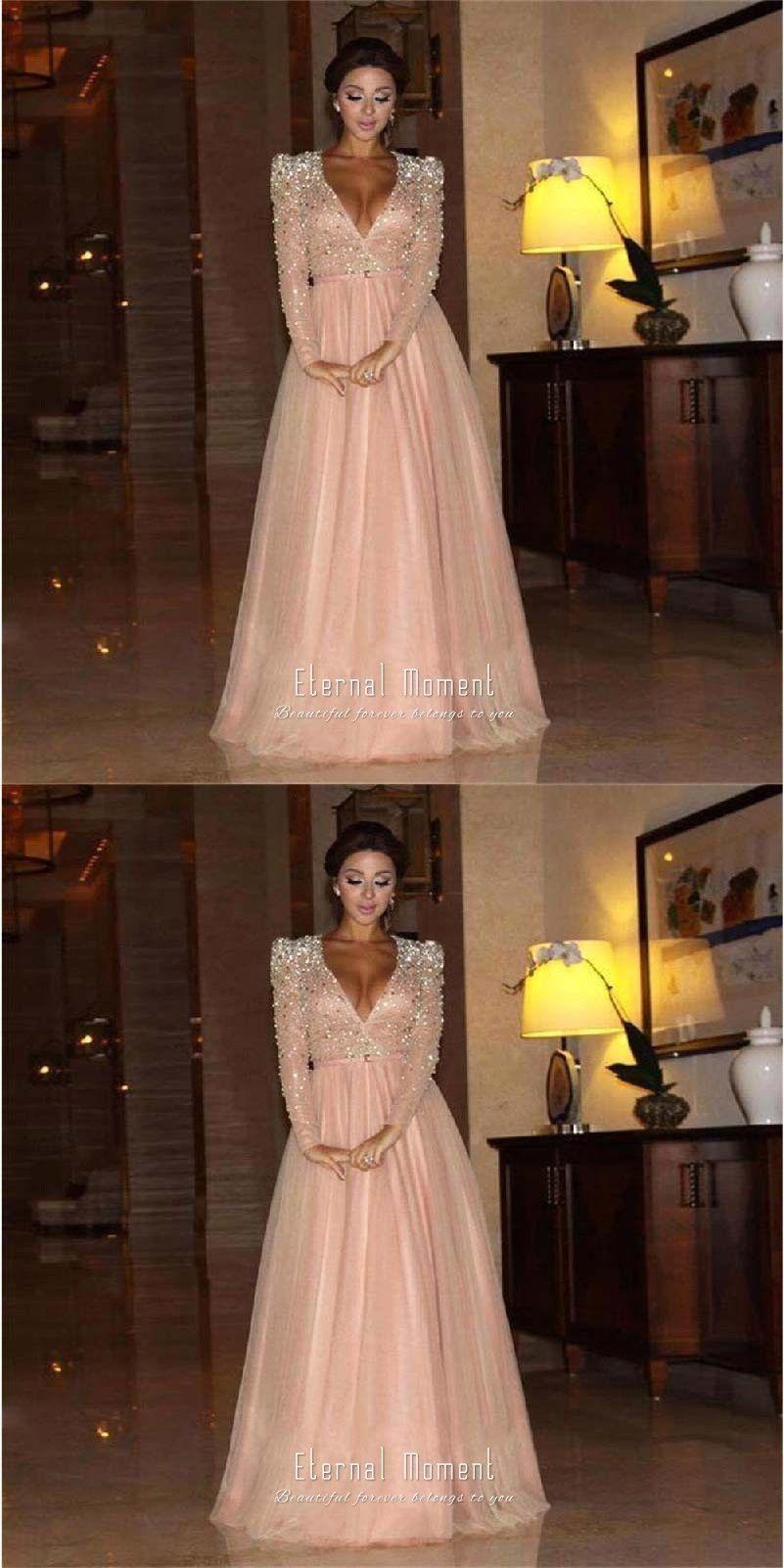 Deep v neck a line evening dress long sleeve crystal formal evening