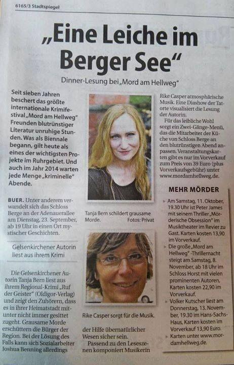 """Stadtspiegel: Schöne Vorankündigung für die #Dinnerlesung """"Crime im Schloss"""" Mord am Hellweg 23. September - 19 Uhr"""