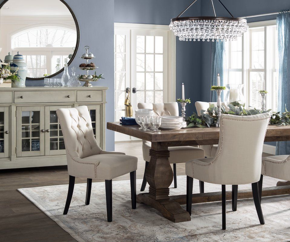 Gertrude Solid Wood Dining Table Dining Room Design Upholstered