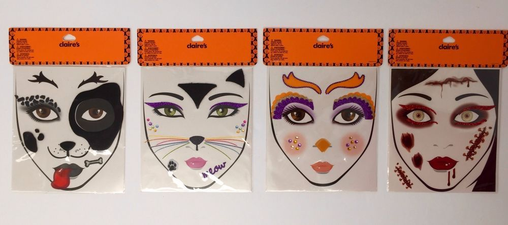 Claire S Face Decals Self Stick Halloween Face Stickers Dog