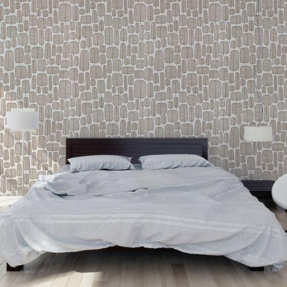 Papier peint blanc/marron motif darbres graphiques Little Trees – MissPrint
