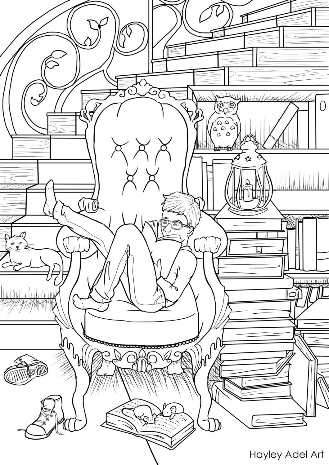 Dream Library Coloring Page Etsy Coloring Pages Coloring Books Cat Coloring Page