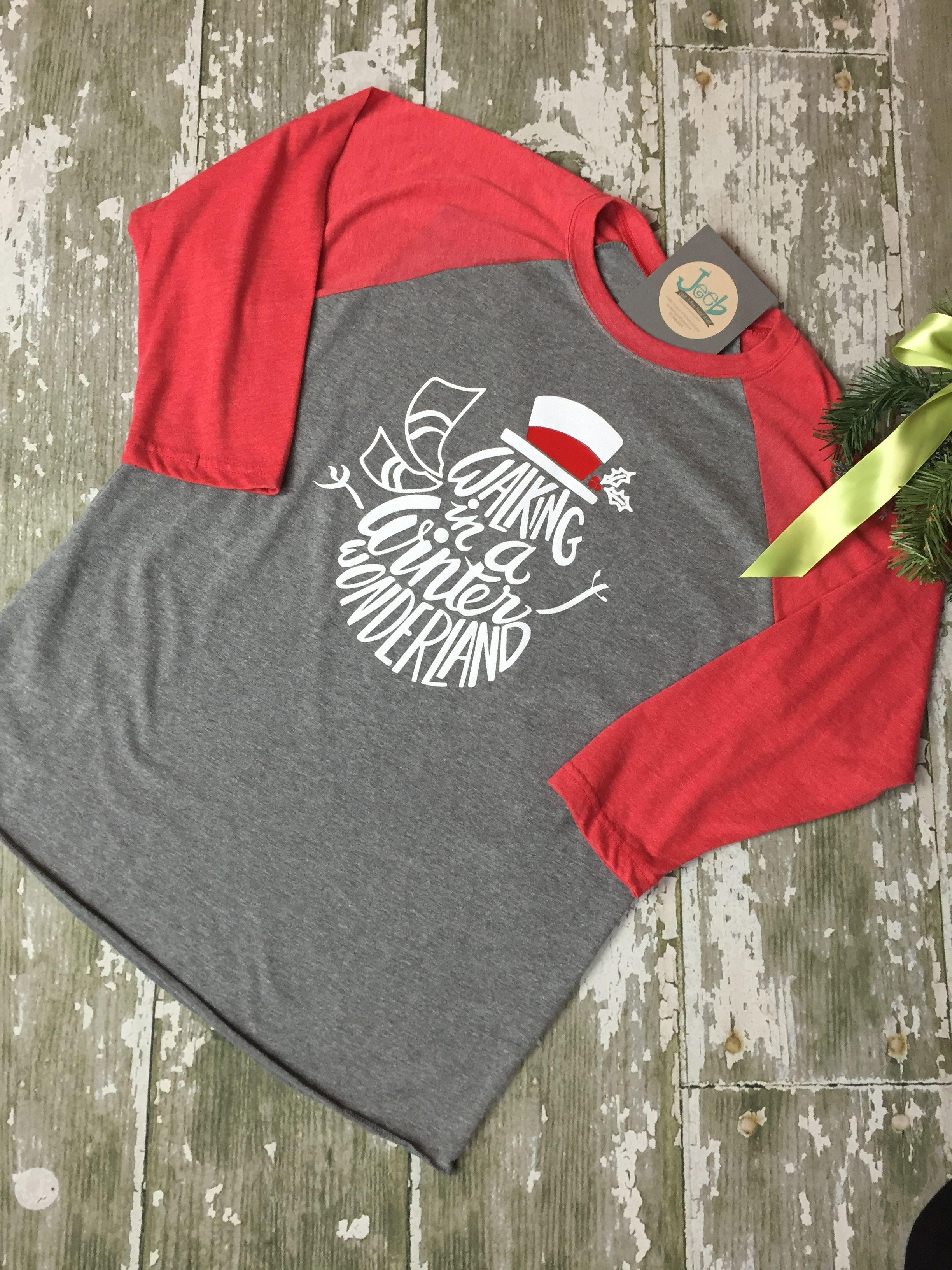 Christmas Tee Snowman Wonderland Tee Shirt Raglan
