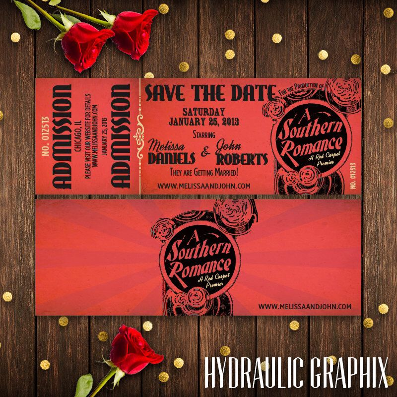 sample wording for save the date wedding cards%0A Hollywood Wedding Invitation  Red Carpet Wedding Theme  Movie Theater  Ticket Wedding Save the Date
